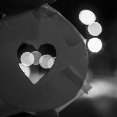 see my heart (pascal.dickhoff) Tags: love heart shaped shape bokeh blur background lights light contrast night street filter hole aperture bw mono monochrome dark darkness soulmate