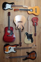 guitar knolling (TW...) Tags: knolling arrangement arranging composition guitars guitar bass uke ukulele strat stratocaster tele telecaster acoustic electric ibanez encore squire fender weekend assignment contest group waac