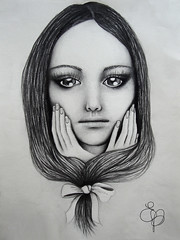 "EVanilla Illustration : ""Coma una Bambola"" (EVanilla Art) Tags: graphite drawing pencil pen black white blackandwhite bigeyes eyes doll fairy blackhair hair hands face graphic illustration surreal"