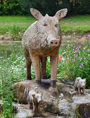 Boar family at Highnam Court (davids pix) Tags: boar wood carving sculpture highnam court gardens 2016 07082016