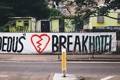 heartbreak hotel (I AM JAMIE KING) Tags: edinburgh heart heartbreak hotel scotland sign text word heartbreakhotel street road