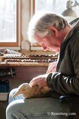 A man working in his studio on a wooden bird carving. (Remsberg Photos) Tags: art artist bird carver studio wildlife wood man oneperson pennsylvania indoors craft detail working stahlstown usa