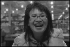 Happy (LavenderMillie) Tags: happy people portrait blackandwhite monochrome dof depthoffield