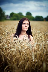 Harvest (Nawid Sahebzadeh) Tags: cornfield dress field girl samara wheat wheatfield whitedress woman