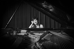 The Pianist (tim.perdue) Tags: pianist piano player musician portrait headshot photo session black white bw monochrome concert grand steinway strings reflection girl woman person figure smile publicity musical instrument ellen