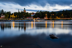 After sunset (geirchristensen) Tags: river kongsberg lgen numedalslgen buskerud rock church norway water lights dusk riverside outdoor waterfront landscape