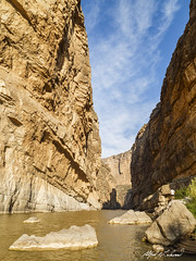 Awestruck Inside Santa Elena Canyon (Alfred J. Lockwood Photography) Tags: alfredjlockwood nature landscape canyon cliff river riogrande santaelenacanyon clouds bigbendnationalpark nationalpark morning spring scale texas