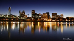 Portland Waterfront Skyline (bshaner10) Tags: hour blue sunset waterfront reflection exposure long longexposure skyline pdx portland