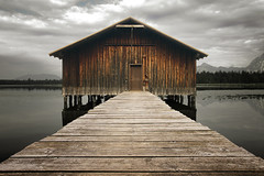 The Old Boathouse (parkerbernd) Tags: old boathouse lake hopfen hopfensee allgäu bayern bavaria wodden hut cabin jetty mountains alps alpen germany