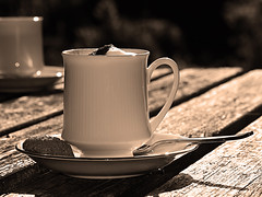 Coffee Time (RestlessFiona) Tags: 14thseptember2016 coffee cup saucer spoon mono sepia bw restlessfiona