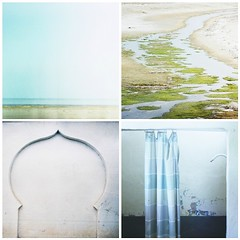 (provincijalka) Tags: blue sea summer sky white green film beach water wall creek shower cool sand squares curtain blues august faded salty shade end outlines curve noise simple stagnant grays disappearing nofuss utilitary provincijalka bleachedaway