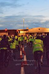 Ride The Lights 2012 (rit photography) Tags: uk longexposure blue light sunset red sea england sky orange cloud sun white colour beach bike yel