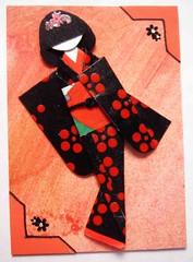 ATC1080 - Red-and-black beauty (tengds) Tags: red orange atc kimono obi papercraft redandblack japanesepaper washi ningyo handmadecard chiyogami photocorners yuzenwashi japanesepaperdoll nailsticker origamidoll tengds