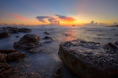 ~DAWN~ (PS~~) Tags: travel pink color beach clouds sunrise canon landscape photography dawn  taiwan greatshot rays temperature  shipping  hdr  pinkclouds     fishingport   colortemperature           rosyclouds