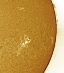 DMK Camera Solar Mosaic (chris_swatton) Tags: plages faculae prominences filaments flare flares granulation sun spot sunspot sunspots spots hydrogen alpha 14022011 yellow orange colour solarscope solar scope lunt ls60tha ls60 tha 15mm eyepiece ball space star losmandy gm8 g8 mount single camera dmk 21au618as mono imaging source