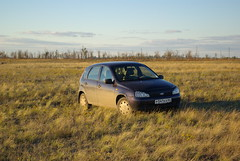 Lada Kalina (foxwwweb) Tags: auto trip travel autumn nature car automobile pentax september russian lada volga steppe kalina 2012       saratovregion   russiancars k10d   sovietcars  stepnoe