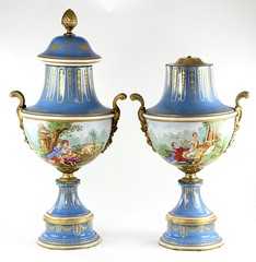 97. Monumental Pair of Porcelain Urns