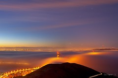 Above the clouds (Yan Photography) Tags: sanfrancisco longexposure bridge fog night sunrise nikon goldengatebridge goldengate marinheadlands hawkhill slackerhill nikon1424