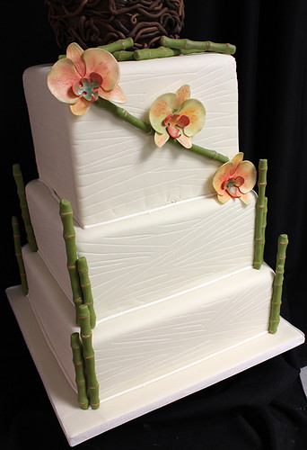 Bamboo Nest and Orchids Wedding Cake