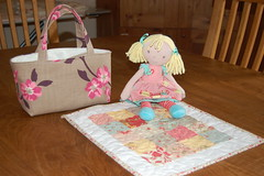 Darcey's Rag doll carry cot bag and quilt (cuckoo blue) Tags: doll quilt moda oasis rag 3sisters carrycot carrybag