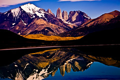 Mountains and lake reflection - Torres del Paine, Chile (jeredtravel) Tags: chile peaceful capehorn threetowers torresdelpainenationalpark chilelandscape chilenature chileglacier chileboatinwater chilehorizon chileresorts torresdelpainelake torresdelpainereflection torresdelpainesky torresdelpainesoothing torresdelpainetowers