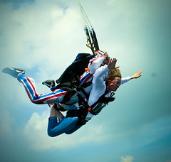 Pure Bliss (stumblegeek) Tags: jumptown sky skydive jump blue clouds massachusetts orange birthday bliss joy dad