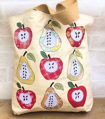 Apples & Pears Market Tote Bag (Bustle & Sew) Tags: bustlesewmagazine applique tote bag