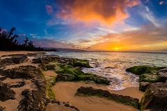 Beautiful Hawaiian Sunset (lisame0511) Tags: sunset ocean sea hawaii beach haleiwa aloha rocks cloud sand sun wave sky oahu shorebreak hawaiian hawaiiansunset unitedstatesofamerica