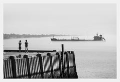 Halifax - Foggy morning (fernandobrandaodebraga) Tags: sonya6000 sigmaart canada eastcost landscapephotography blackwhite bw contrast ocean water boat ship people halifax novascotia 1yearanniversary vacation roadtrip