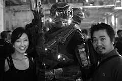 Hong & Yuki with Master Chief (Ian Muttoo) Tags: dsc69551edit x16 microsoft xbox toronto ontario canada gimp ufraw bw xboxone distillery distillerydistrict thefermentingcellar gameshowcase
