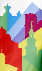 Colourful Poznan (roomman) Tags: 2016 poznan poland polska wielkopolska wielko town city church churches poster ad advertisement colour colours red green blue colourful tower towers churchtower parish holy building design art painting paint