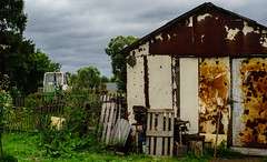 Garage and tractor (AleksandrErmakov) Tags: fence wicket garage tractor village kaluga sashkino russia