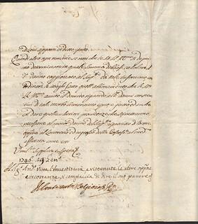 Firma del conte Antonio Belgioioso, 1746