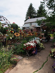 P6080775 (photos-by-sherm) Tags: good quilts retail garden flowers sculpture yard accessories amana iowa summer decorations metal