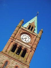 Guildhall  Tower (lgebelin) Tags: derry londonderry northernireland britain city clocktower tower clock blueskies sunlight europe guildhall eveninglight roof diagonal