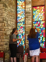 admiring the stained glass in the chapel (muffett68 ) Tags: stainedglass patty tina austin tx parkerlanechurch