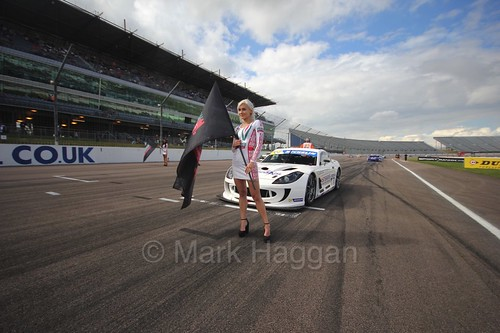 Mark Davies on the grid in the Ginetta GT4 Supercup at Rockingham, August 2016