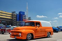 1956 Ford F100 Panel Truck (Chad Horwedel) Tags: 1956fordf100paneltruck fordf100paneltruck ford f100panel classic truck custom orange white hotrodpowertour2016 hrpt2016 kansascityspeedway kansascity kansas
