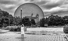 The Biosphre and the young girl (pacogranada) Tags: biosphere montreal blackandwhite clouds quebec canada