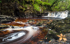 Rusty Waters (absynth100) Tags: wales water rapids waterfall rocks moss uk landscape green trees woods leaf fall autumn