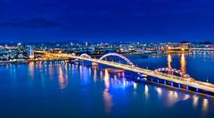 Panoramic Da Nang (free3yourmind) Tags: danang vietnam asia blue hour sky sea river dragon bridge lights view above