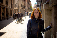 Sunny Street, Pretty Lady (G.Roca) Tags: portrait street people henares posing summer girl spain alcala nice woman dark outdoors pretty column tourism sunny spring keiko