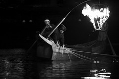 ukai (cormorant fishing) on the Nagara river (StephenCairns) Tags: bw japan night canon dark fire fisherman  cormorant nocrop gifu summernights highiso    ukai   nagarariver     lackandwhite stephencairns  canon5dmarkii  focusisalittlesoftbutimtotallyfinewiththat