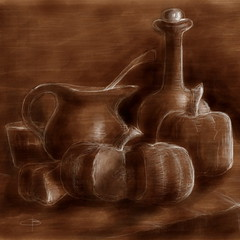 Still life with pumpkin (claudio boccardo) Tags: pictures life venice trees light sea summer sky blackandwhite bw italy mountains art nature water colors leaves sunshine sepia clouds river landscape countryside sketch leaf spring artwork woods aqua paint italia seasons drawing live country dream natura dreaming draw sketches riflessi dolomites dolomiti padova padua sogno seppia reflexes veneto ipad sognando madewithpaper artdraw