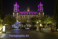 Lopesan Villa Del Conde (JayGriffin) Tags: plaza trees sea sun holiday bar night del canon eos hotel james islands sand long exposure palm resort cocktail entertainment spanish 7d villa conde gran canary griffin canaria meloneras wwwjegphotoartcom