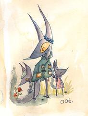 Folk 006. Odi. (Jacob Oh.) Tags: art illustration ink watercolor folk fox 365 creature 006 odi folkish jacoboh