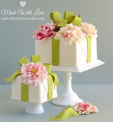 Wrapped Present Cakes (~Made With Love~) Tags: pink white green cake wrapped peony present icing ribbon fondant gumpaste sugarpaste squarecake flowerpaste