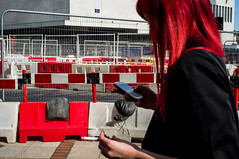 (Matt Obrey) Tags: street red white colour hair birmingham hand walk streetphotography x100 birminghamstreet fujix100
