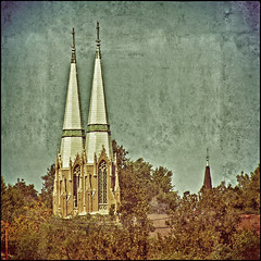 TWIN SPIRES ~ Textures (FotoEdge) Tags: blue church ancient downtown catholic spires hill towers masonry 19thcentury churches twin crosses stjoseph historic copper limestone hillside reds 20thcentury steeples relics brownstone saintjoseph 2012 angelique twinspires fotoedge