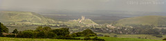 Morning at Corfe Castle (s0ulsurfing) Tags: uk morning light summer england panorama sunlight green castle english history clouds rural canon countryside britain august panoramic tourists dorset gb fields british corfe purbeck 2012 stratocumulus corfecastle isleofpurbeck s0ulsurfing vertorama jasonswain